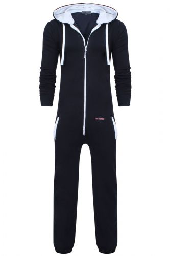 Men's Unisex Navy Brushed Fleece Zip Up Playsuit Jumpsuit All In One Hooded Onesie